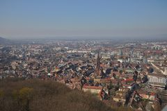 Freiburg germany. cityscape with the famous minster from the schlossberg tower stock photo