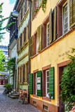 FREIBURG IM BREISGAU, GERMANY - May 17, 2017: old town street in Freiburg, a city in the south-western part of Germany in the Bade. FREIBURG IM BREISGAU, GERMANY Stock Photos