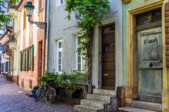 FREIBURG IM BREISGAU, GERMANY - May 17, 2017: old town street in Freiburg, a city in the south-western part of Germany in the Bade. FREIBURG IM BREISGAU, GERMANY Stock Photo