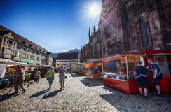 FREIBURG IM BREISGAU, GERMANY, morning market in Town hall squar Stock Images