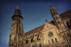 Freiburg Minster, a medieval church in the city of Freiburg, at the edge of the Black Forest, Germany. World famous Freiburg Minster cathedral, a medieval church Royalty Free Stock Photos