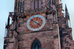 Freiburg Minster, a medieval church in the city of Freiburg, at the edge of the Black Forest, Germany. World famous Freiburg Minster cathedral, a medieval church Royalty Free Stock Image