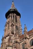 Freiburg Minster, a medieval church in the city of Freiburg, at the edge of the Black Forest, Germany. World famous Freiburg Minster cathedral, a medieval church Royalty Free Stock Photography
