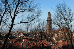 Freiburg Minster, a medieval church in the city of Freiburg, at the edge of the Black Forest, Germany. World famous Freiburg Minster cathedral, a medieval church Royalty Free Stock Photo
