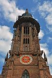 Freiburg Minster tower. Facade of the Freiburg minster tower with ongoing construction, Freiburg breisgau Germany Royalty Free Stock Image