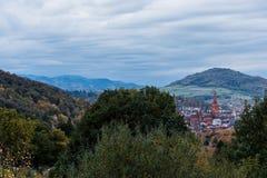 Freiburg Munster na frente do monte imagem de stock