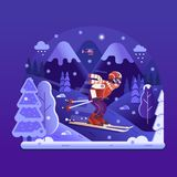 Freie Fahrski fahrender Mann auf Winter-Bergen stock abbildung