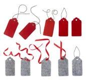 Freie Marke mit rotem Farbband Stockbild