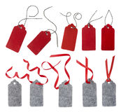Freie Marke mit rotem Farbband Stockbilder