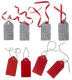 Freie Marke mit rotem Farbband Aufkleber vom roten und grauen Filz Lizenzfreie Stockfotos