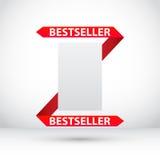 Freie Marke mit rotem Farbband Vektorausweis Abbildung Stockbilder