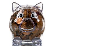 Freie piggy Plastikquerneigung voll der Pennys Lizenzfreies Stockbild