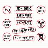 Freie Stempel des Latex und des Phthalats eingestellt Stockfotos