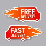 Freie und schnelle Lieferungsaufkleber Stockbilder