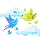 Freie Vögel des netten Paarliebhabers, die in den Himmel, Aquarellmalerei fliegen stock abbildung