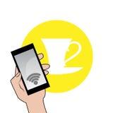 Freie Wi-Fizone und -kaffee Stockfotografie