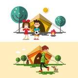 Freien-kampierender Vektor-Entwurf mit Zelt, Kindern, Feuer und Frau lizenzfreies stockfoto