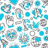 Freien Sorgfalthoffnung Friedensmuster-Vektorillustration der blauen Liebesweltfreiheit International nahtlose lizenzfreie abbildung