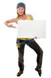 Freier Bergsteiger mit weißem leerem Vorstand Stockfotos