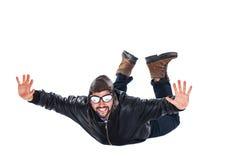 Freier fallender glücklicher Pilot Stockbild