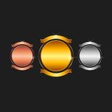 Freier Raum stempelt - Gold, Platin, Silber Stockbilder