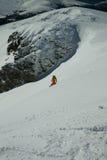 Freier Snowboarding auf einer wilden schneebedeckten Steigung Stockbild