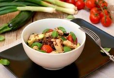 Freies Lebensmittel des Glutens mit roter Quinoa, Hühnerleiste, Tomate, Zucchini, Olive, Basilikumblättern und Frühlingszwiebel i stockbild
