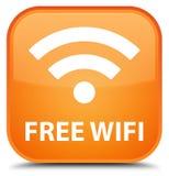 Freies wifi spezieller orange quadratischer Knopf Lizenzfreie Stockfotografie