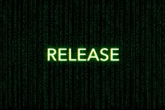 Freigabe, Schlüsselwort des Gedränges, auf einem grünen Matrixhintergrund lizenzfreie stockfotos
