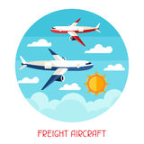 Freight aicraft transport background in flat Stock Image