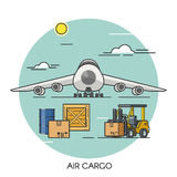 Freight airplane flat outline concept. Cargo plane global transport logistics. Transportation by air. Stock Photography