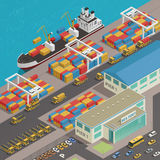 Freight Barge Harbor Wharf Isometric. Freight barge moored at harbor wharf quayside pier loading with colorful cargo containers isometric composition vector Royalty Free Stock Image