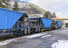 Freight blue train Stock Images