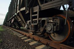 Freight car wheels Stock Photos