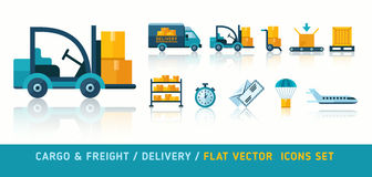 Freight cargo delivery transportation and logistic flat icons Stock Images