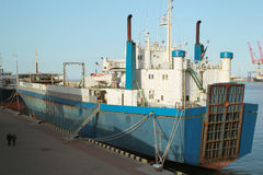 Freight - cargo ships at the seaport and truck Stock Photo