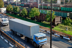 Freight cargo traffic. Freight traffic in port cars and the railway Stock Images