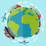 Freight cargo transport background in flat design Stock Photography