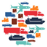 Freight cargo transport icons background in flat Stock Images