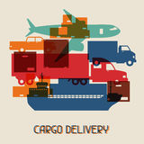 Freight cargo transport icons background in flat Royalty Free Stock Photos