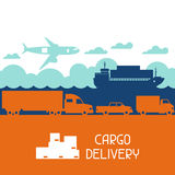 Freight cargo transport icons background in flat stock illustration