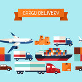 Freight cargo transport icons seamless pattern in. Flat design style Royalty Free Stock Photo