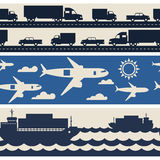 Freight cargo transport icons seamless patterns in Stock Photo