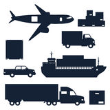 Freight cargo transport icons set in flat design Stock Photography