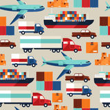 Freight cargo transport seamless pattern in flat Stock Photo