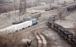 Freight cars. Freight for the metallurgical industry Royalty Free Stock Image