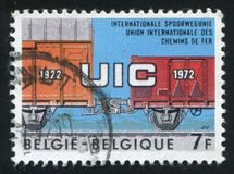 Freight Cars with Automatic Coupling. RUSSIA KALININGRAD, 19 OCTOBER 2015: stamp printed by Belgium, shows Freight Cars with Automatic Coupling, circa 1972 royalty free stock images