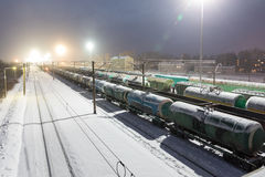 Free Freight Cars On The Sorting Cargo Station In The Light Of Searchlights Royalty Free Stock Image - 90149306