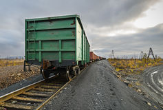 Freight cars at the railway. Cargo wagon for general cargo Stock Photography
