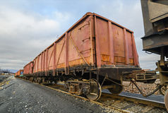 Freight cars at the railway. Cargo wagon for general cargo Stock Photos
